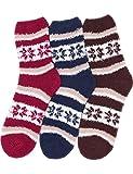 HASLRA Soft Warm Microfiber Fuzzy Socks 3 Pairs (NORDIC-MIX2)