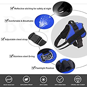Bolux Dog Harness, No-Pull Reflective Breathable Adjustable Pet Vest with Handle for Outdoor Walking – No More Pulling…