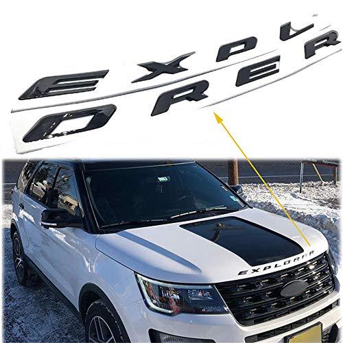 3D Letters Metal Explorer Car Front Hood Emblem Badge Sticker Decal Fit for Ford 2011-2017 (Glossy Black)