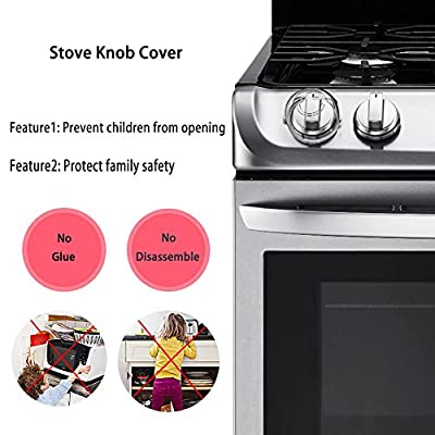 BeiKang Upgraded Version Stove Knob Covers for Child Baby Safety Universal Fit Oven and Stove Knob Covers Clear View Kitchen Toddler Protection, 2Pack