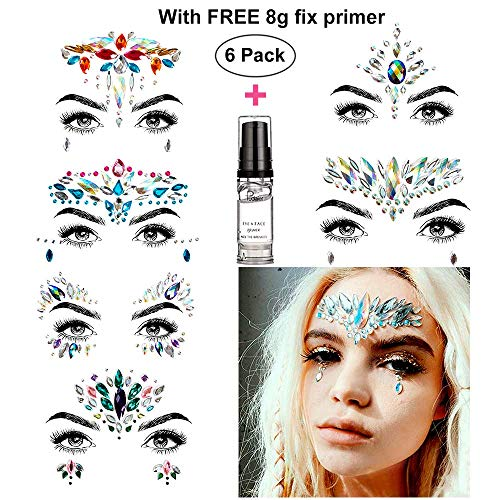 HITOP Face Jewels, 6 Pack Rhinestone Body Jewels Festival with Gel, Rave Mermaid Face Gems, Christmas Party Favors for Girls