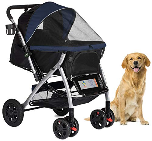 HPZ Pet Rover Premium Heavy Duty Dog/Cat/Pet Stroller Travel Carriage With Convertible Compartment/Zipperless Entry/Reversible Handle/Pump-Free Rubber Tires for Small, Medium, Large Pets-Midnight Blue (Best Large Dog Stroller)