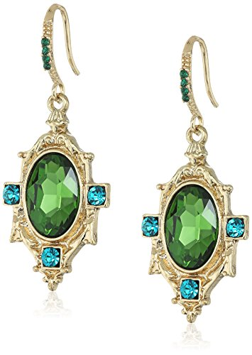 1928 Jewelry Gold-Tone Green Faceted Oval Stone and Blue-Zircon-Color Crystal Drop Earrings