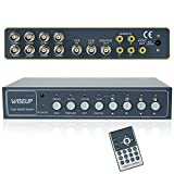 Wiseup™ 8Ch Color Video Quad Splitter CCTV Security Mulitplexer Processor with Audio PIP