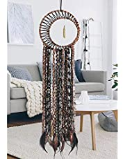 LOMOHOO Dream Catcher Gold Feather Pendant Handmade Traditional Dream Catchers Wall Hanging for Kids Bedroom Dorm Room Home Boho Decoration Bohemian Ornament Craft (Brown)
