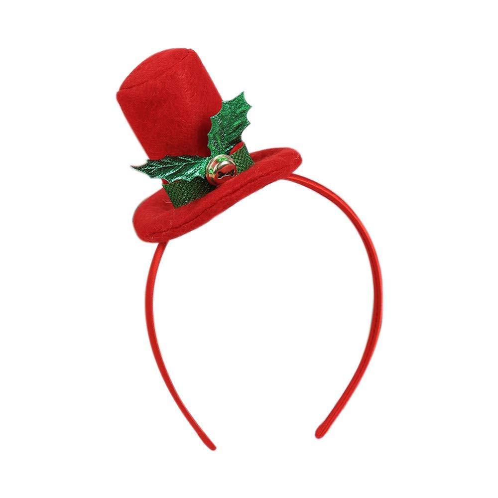 Kanhan Christmas Head Hoop Santa Xmas Party Decor Double Hair Band Clasp Headband (B)
