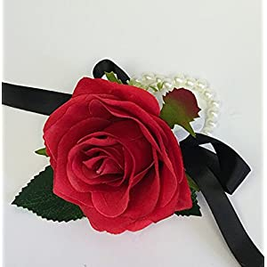 Angel Isabella Wrist Corsage(XLWC001-RSRD) with Pearl Wristband-Artificial Roses Hydrangea (red) 67