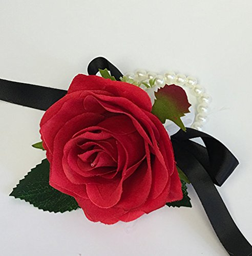Angel Isabella Wrist Corsage(XLWC001-RSRD) with Pearl Wristband-Artificial Roses Hydrangea (red)