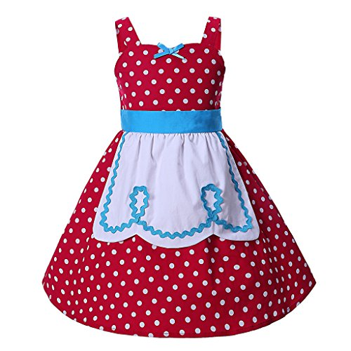 (Pettigirl Girls Polka Dot Dress with Apron Party Casual Cotton Sundress 3years)
