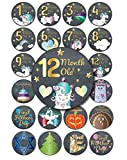 Unicorn Starry Night Baby Monthly Stickers, 24-Pack 4 inch 12 Monthly 1st Year Milestones & First Holidays Premium Baby Belly Stickers, Mom to Be or Dad to Be Gifts, Awesome Baby Shower Gifts