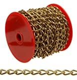 Campbell 0719017 Hobby and Craft Twist Chain, Brass Plated, 90 Trade, 0.056'' Diameter, 5 lbs Load Capacity, 82 Feet Mini Reel