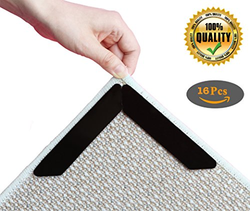 Rug Gripper, Anti Slip Rug Pad Keeps area Rug In Place, Anti Curling Carpet Gripper Flattens Corners & Edges, Reusable Double Sided Adhesive Rug Gripper Tape for Kitchen Bathroom & (Gel Vinyl Glue)
