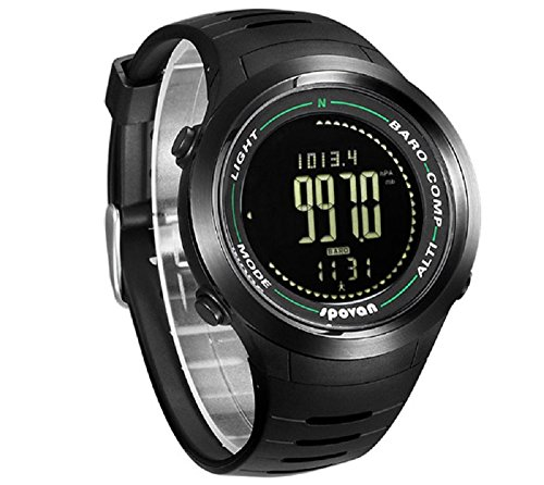 Spovan Men Sports Watch Altimeter Barometer Thermometer Pedometer Compass Calorie Counter Wrist Watch  Black Watch Dial