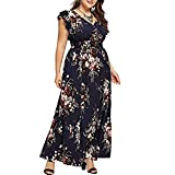 Women Plus Size Summer V Neck Floral Ruffle Boho Sleeveless Party Long Maxi Dress Slit Sundress (XL, Navy)