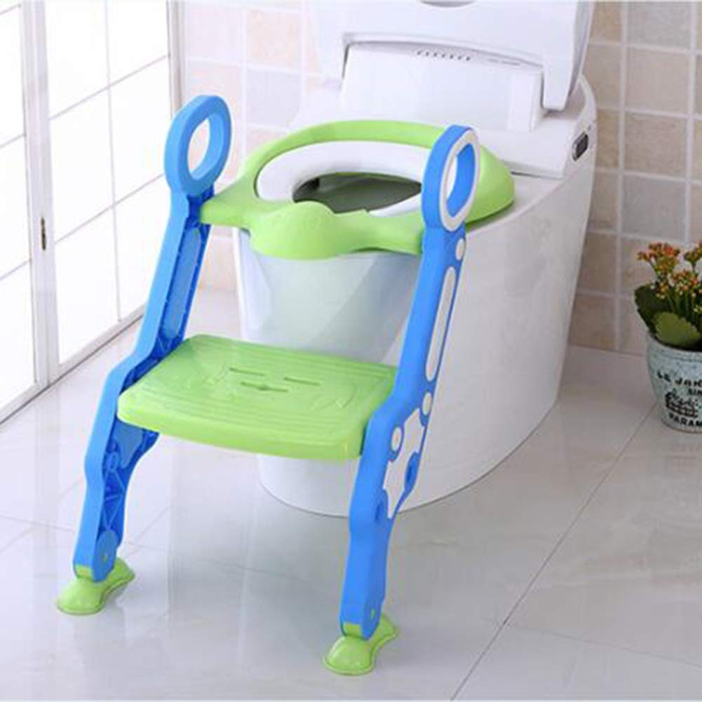 Toilet Seat Step Stool Ladder Baby Ladder Toilet-Men and Women Baby Toilet Seat Toilet Slip 1-8 Years Old Purple Blue Padded Foldable HENGXIAO Color : Blue-Green