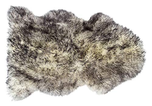 Natural Thick and Lush 2.5 inch Pile Anti-Skid Backing Hypo-Allergenic Premium Quality New Zealand Sheepskin Wool Area Rug, Gradient Grey, 2 ft x 3 ft (Wool Quality Rugs)