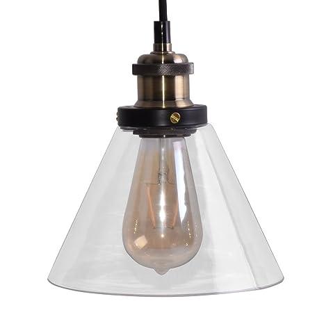 Lámpara colgante de techo estilo retro con tulipa de cristal ...
