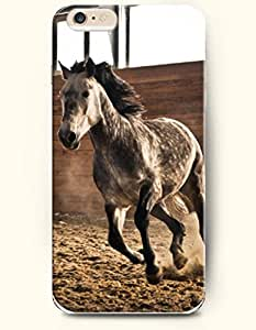 OOFIT Apple iPhone 6 Case 4.7 Inches - Horse Running in the Stable