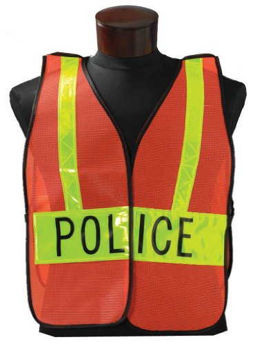 """Jackson Safety Fabric Specialty Safety Vest with Lime Reflective, Legend """"Police"""""""