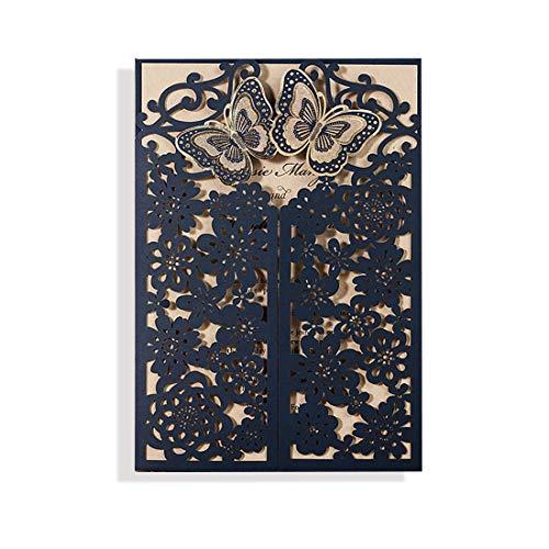 VEMELKA Laser Cut Wedding Invitations Cards Set of 50 Navy Blue Invite Card for Engagement-Graduation-Bridal-Shower]()