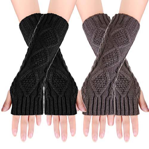 Novawo Women's Hand Crochet Winter Warm Fingerless Arm Warmers Gloves (Hand Women Warmer)