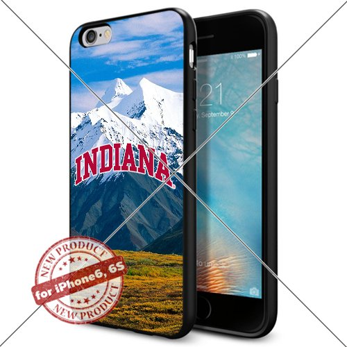 WADE CASE Indiana Hoosiers Logo NCAA Cool Apple iPhone6 6S Case #1198 Black Smartphone Case Cover Collector TPU Rubber [Forest]