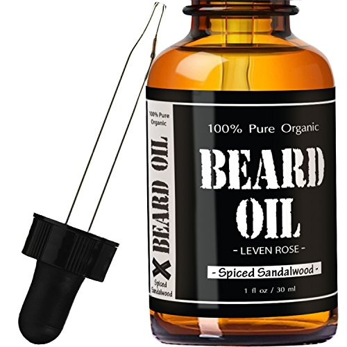 Beard Oil and Leave In Conditioner – Spiced Sandalwood by Leven Rose 100% Pure Natural Organic for Groomed Beards, Mustaches, and Moisturized Skin – 1 oz