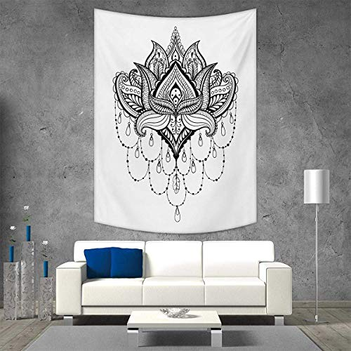 smallbeefly Henna Beach Throw Blanket Ethnic Zentengle Tattoo Style Ornamental Lotus Flower Japanese Culture Inspired Art Vertical Version Tapestry 70W x 84L INCH Black White -