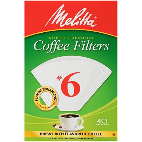 Melitta (626402C) #6 Super Premium Cone Coffee Filters, White, 40 Count (Pack of 12)