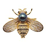 JYX Fine 9mm Tahitian Southsea Cultured Pearl Brooch Pin Pendant Bee-style