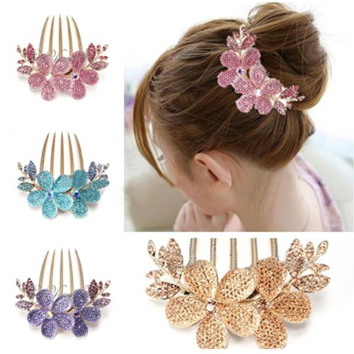 Price comparison product image Charm Fashion Lady Girl Flower Pattern Alloy Rhinestone Barrette Hair Clip Comb Blue