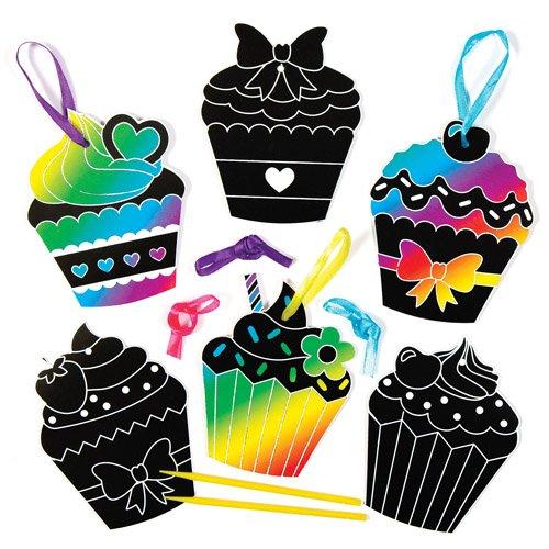 Baker Ross Kit de Décorations Cupcakes à gratter Que Les Enfants pourront fabriquer et Suspendre - Loisirs Créatifs pour Enfants (Lot DE 8)