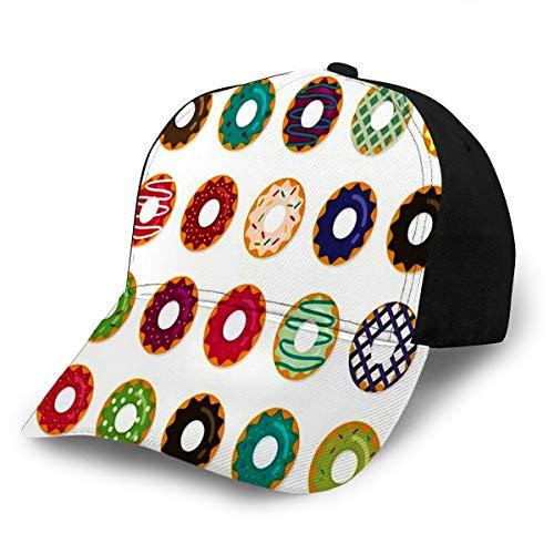 Unisex Baseball Hat Donut Set in Modern Flat Style for Adult Adjustable