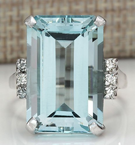 Sumanee Vintage Women 925 Silver Aquamarine Gemstone Ring Wedding Jewelry Size 6-10...
