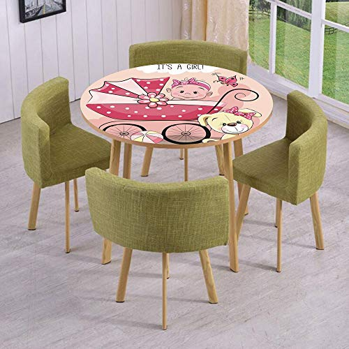 iPrint Round Table/Wall/Floor Decal Strikers/Removable/Greeting for New Infant Puppy Dog and Baby Carriage Pastel/for Living Room/Kitchens/Office Decoration