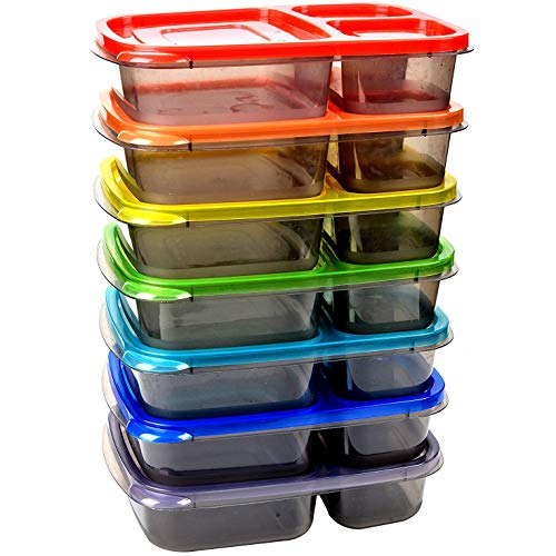 Youngever Meal Prep 3 Compartment Portion Bento Box, 7 Pack, Rainbow Color