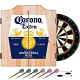 Trademark Gameroom Corona Extra Dart Board Set with Cabinet - Label - by Corona