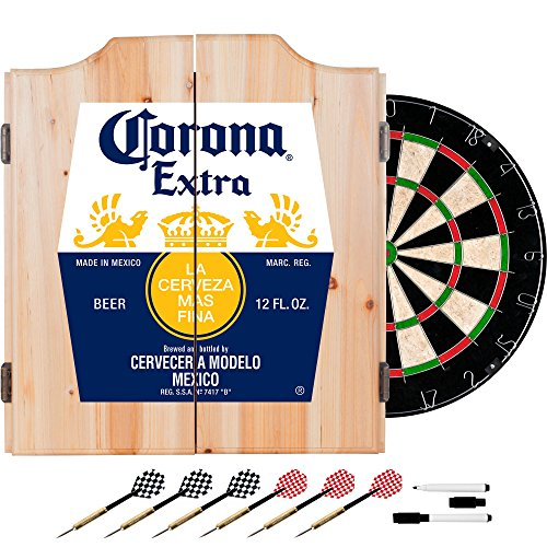 Corona Extra Dart Board Set with Cabinet - Label - by Corona (Dartboard Custom Cabinets)
