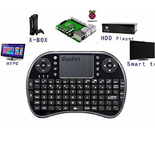 iPazzPort Raspberry Pi Mini Wireless Handheld Remote Control Keyboard with Multi Touch Touchpad Work for Android and Google Smart TV XBMC KP-810-21B (Best Remote Control For Raspberry Pi Xbmc)