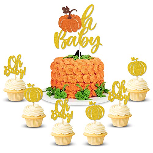 Fall Gender Reveal Ideas (Pumpkin Oh Baby Cake Cupcake Topper Baby Shower Fall Theme Party Decorations Gender Reveal)