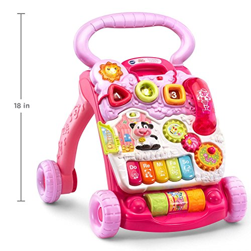 51fQNQK5jBL - VTech Sit-to-Stand Learning Walker Amazon Exclusive, Pink