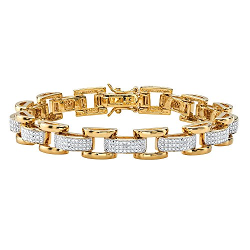 Palm Beach Jewelry Men's White Diamond Accent Pave-Style 18k Gold-Plated Fancy-Link Bracelet 8.5