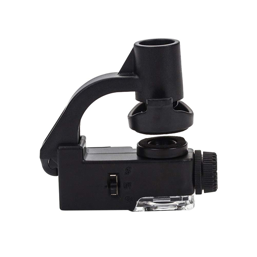 AkoMatial Universal 90X Zoom Optical Loupe Mobile Phone Clip LED UV Glass Microscope Magnifier Magnifying Tools