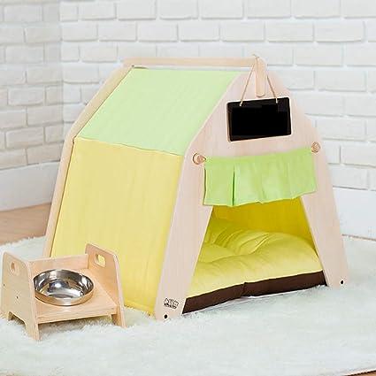 Tzdd Casa De Mascotas Lona Amarilla Y Verde Adecuado para La Cama Invierno Gato Lavable PequeñO