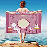 iPrint Girls Quick Dry Plush Microfiber (Towel+Square scarf+Bath towel) Lady-Sitting-in-front-of-French-Cosmetic-Make-Up-Mirror-Furniture-Dressy-Design And Adapt to any place