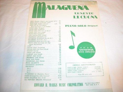 MALAGUENA ERNESTO LECUONA 1928 SHEET MUSIC SHEET MUSIC 248