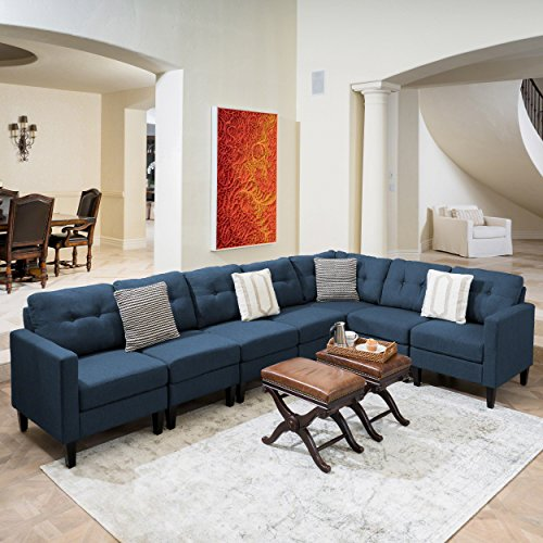 Emma Mid Century Modern 7 Piece Navy Blue Fabric Extended Sectional