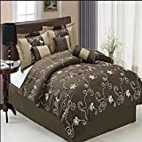 Spunky style and comfort in one complete package with this 7pc Queen Coffee Covington Comforter set; 100% polyester fabric featuring flirty floral print over dark backdrop