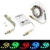 Battery Operated USB LED Strip Lights, BT 1.5m/4.92ft RGB SMD 5050 45 LEDs IP65 Waterproof Flexible Color Changing Light with Mini Controller and Battery Box for Decoration