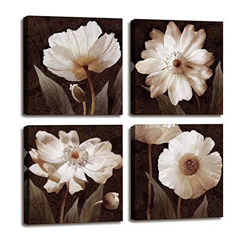 Canvas Wall Art Contemporary Simple Life White Flowers Floral Canvas Painting Pictures for Home Bedroom Decor - 4 Panels Framed Artwork Canvas Prints Brown Giclee Poster for Living Room Bathroom Decor (Brown Wall Decorations)